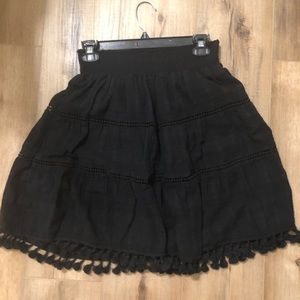 Loft Black Tassel Skirt